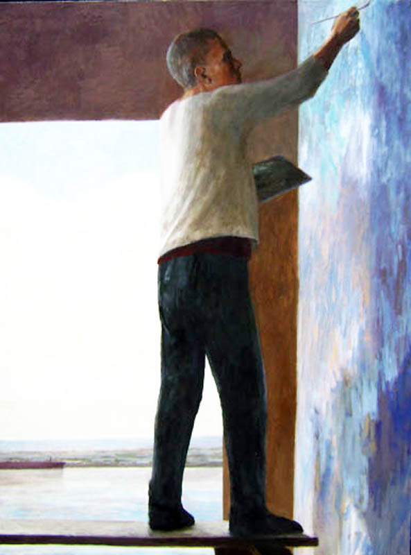 Artist studies the sky  oil/canvas 2011