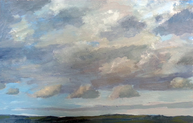 Cloud study II  oil/wood panel, 8″ X 12″, 2014