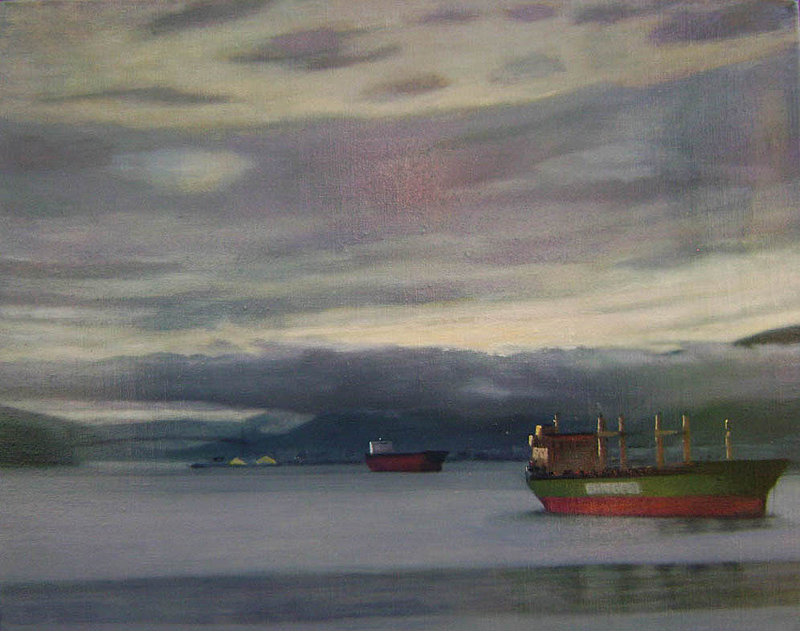 Late afternoon, Burrard Inlet  oil/linen 16″ X 20″ 2010