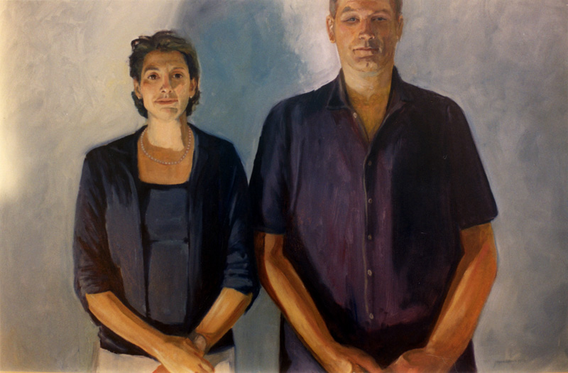 Lizanne and Barry  (partners series)  oil/wood panel 36″ X 48″ 1989