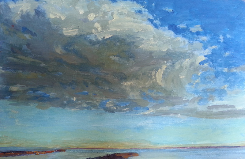 Magheramourne, cloud study  oil/canvas, 8″ X 12″, 2014