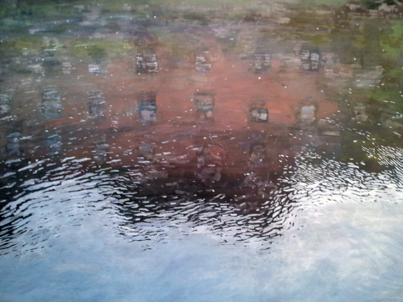 "River Lee reflection, Cork, Ireland, oil/canvas, 30"" X 40"", 2015"