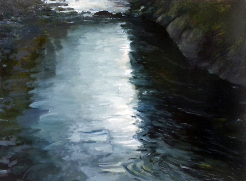"Capilano River II, North Vancouver, Canada  oil/canvas,  30"" X 40"", 2015"