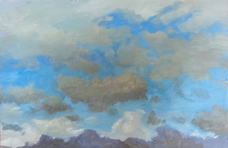 Cloud study I  oil/wood panel, 8″ X 12″, 2015