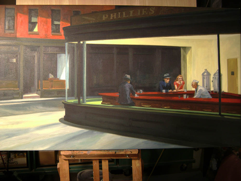 "Oil painting copy (after Edward Hopper) for film, ""Night at the Museum"""