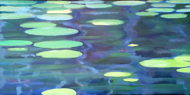 "North Lake lillies I, Canada  oil/canvas, 12"" X 20"", 2015"