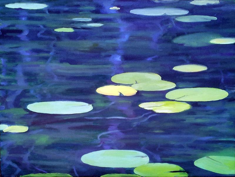 "North Lake lillies III, Canada  oil/canvas, 18"" X 24"", 2015"