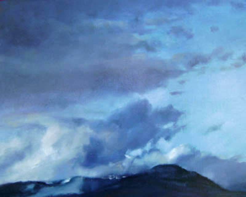 Rain cloud building  oil/canvas 16″ X 20″ 2010