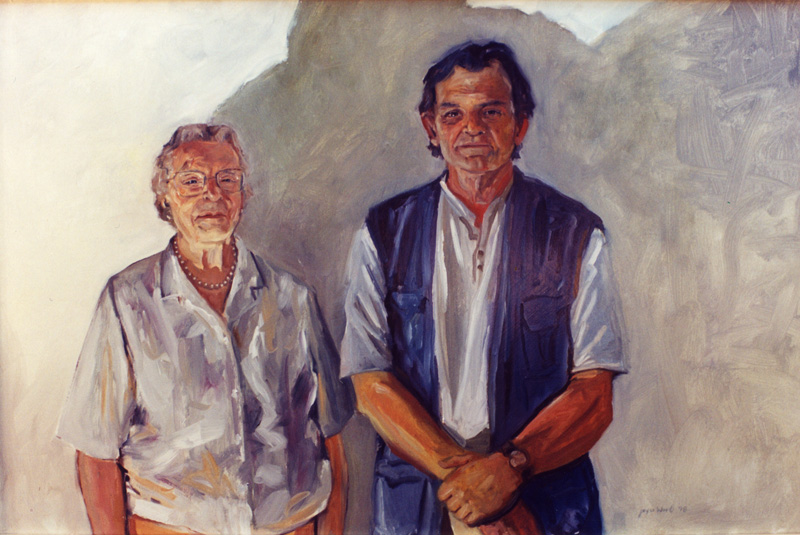 Robert Foley and his mother (family and friends series)   oil/wood panel 36″ X 48″ 1989