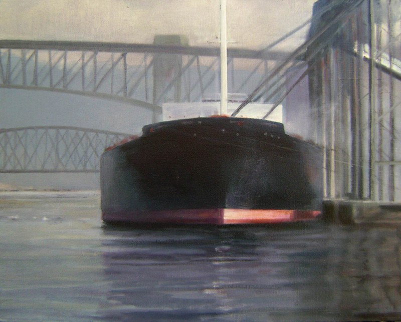 Ship loading grain oil/canvas 16″ X 20″ 2010