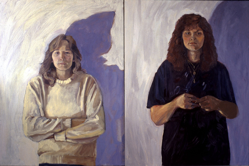 Cindy and Lynnda, sisters (family and friends series)   oil/wood panel 36″ X 48″ 1989